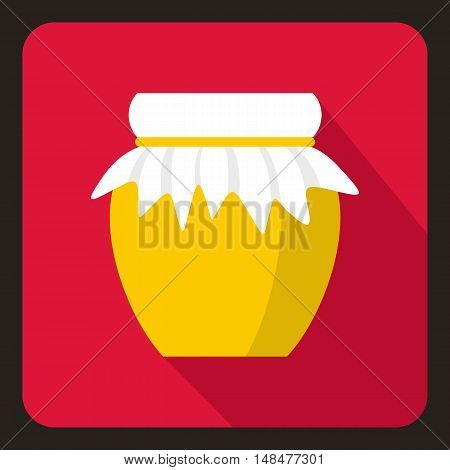 Jar of fresh honey icon in flat style with long shadow. Food symbol vector illustration