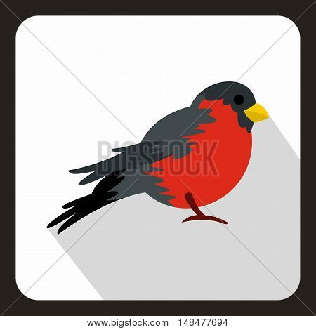 Bird with red plumage icon in flat style with long shadow. Fly symbol vector illustration