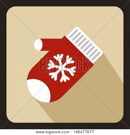 Red winter gloves icon in flat style with long shadow. Accessory symbol vector illustration