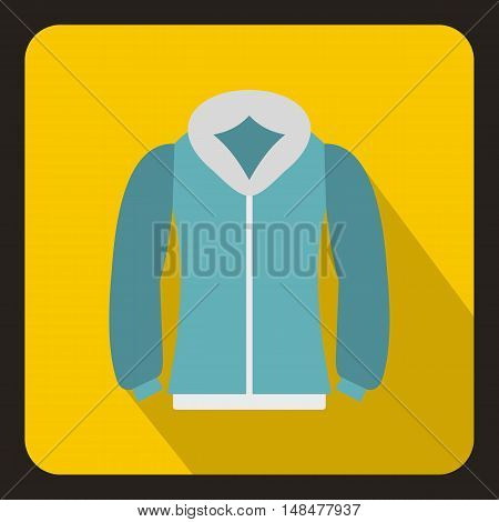 Blue mens winter jacket icon in flat style with long shadow. Clothing symbol vector illustration
