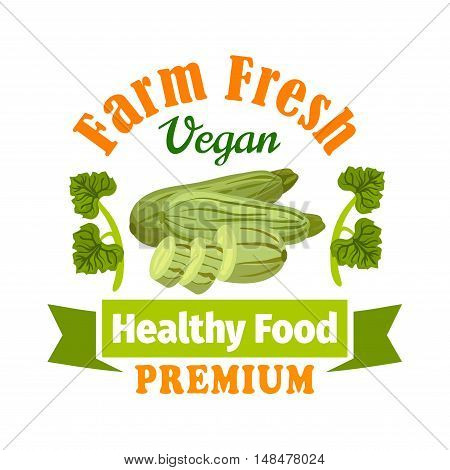 Farm fresh zucchini squash label. Premium healthy vegan food icon with green ribbon and leaves. Vector vegetable icon for vegetarian product sticker, grocery, farm store, packaging and advertising