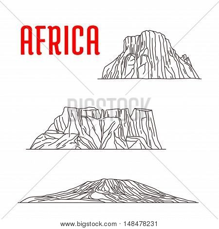 Historic landmarks, sightseeings, famous showplaces of Africa. Vector thin line icons of Mount Kilimanjaro, Tirel Waterfall, Drakensberg for souvenir decoration elements