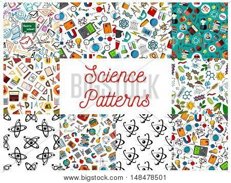 Science and knowledge seamless backgrounds. Wallpaper patterns of microscope, atom, dna, chemicals, substance, gene, molecule, telescope, globe, apple, proton magnet calculator lamp school supplies Mathematics architecture chemistry symbols