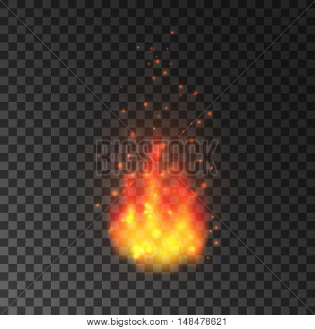 Realistic fire with sparks. Blazing burning flames isolated on transparent background