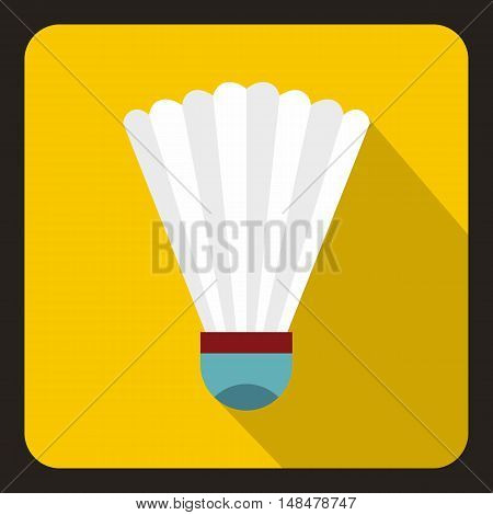 Badminton shuttlecock icon in flat style with long shadow. Game symbol vector illustration