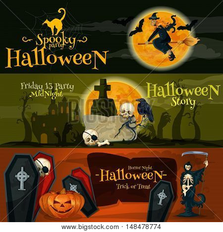 Halloween vector cartoon banner with text and characters. Spooky Halloween Party, Friday 13 midnight story, Horror Night, Trick or Treat lettering poster design for Halloween greeting and invitation cards decoration