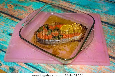 Baked Salmon In Glass Dish