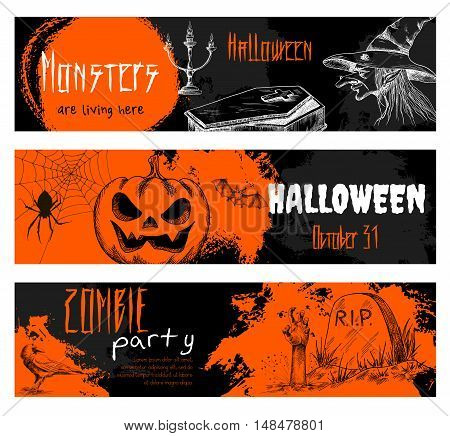 Halloween chalk sketch elements on blackboard. Orange banners with with white text for halloween party. Retro style icons of scary pumpkin, old witch hat, coffin, graveyard tomb, zombie hand