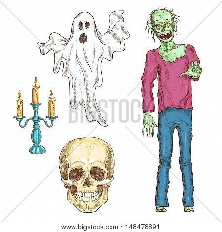 Halloween elements set of color sketch icons. Isolated characters of walking dead zombie, human skeleton smiling skull, spooky ghost, burning candlestick for halloween decoration design