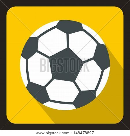 Soccer ball icon in flat style with long shadow. Game symbol vector illustration