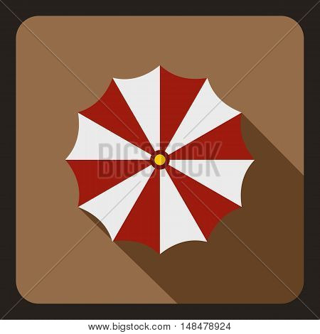 Red and white beach umbrella icon in flat style with long shadow. Sun symbol vector illustration