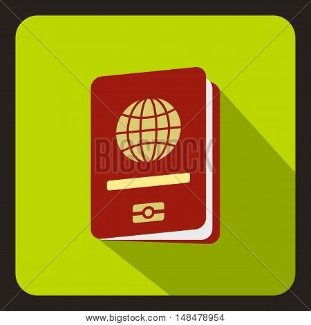 Passport icon in flat style with long shadow. Document symbol vector illustration