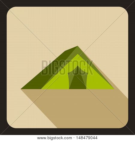Tourist tent icon in flat style with long shadow. Tourism and recreation symbol vector illustration
