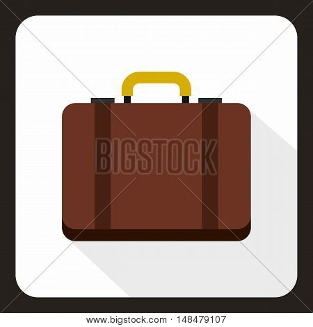Suitcase icon in flat style with long shadow. Luggage symbol vector illustration
