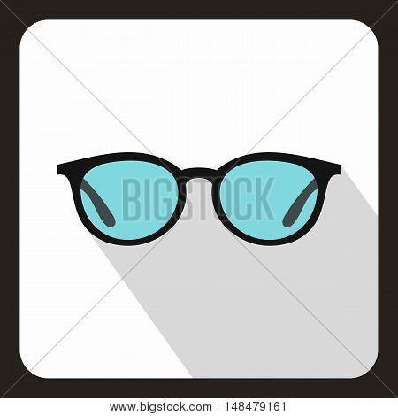 Glasses icon in flat style with long shadow. Sun protection symbol vector illustration