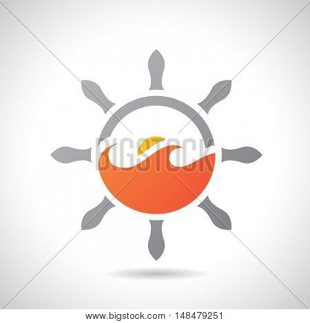 Illustration of an Sea and Rudder Icon isolated on a white background