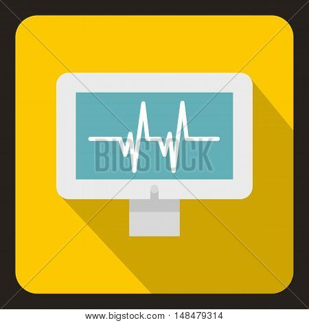 Monitor heartbeat icon in flat style with long shadow. Medical symbol vector illustration
