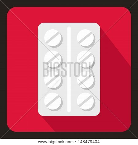 Pack of pills icon in flat style with long shadow. Medicine symbol vector illustration
