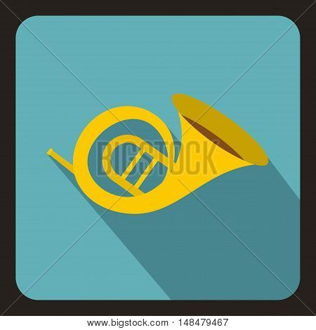 Horn trumpet icon in flat style with long shadow. Musical instrument symbol vector illustration