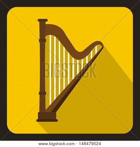Harp icon in flat style with long shadow. Musical instrument symbol vector illustration
