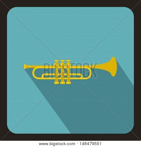 Music tube icon in flat style with long shadow. Musical instrument symbol vector illustration