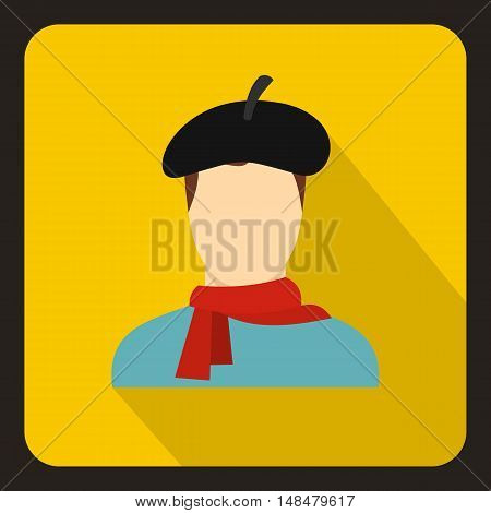 Painter icon in flat style with long shadow. Drawing and art symbol vector illustration