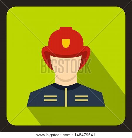 Fireman icon in flat style with long shadow. People symbol vector illustration