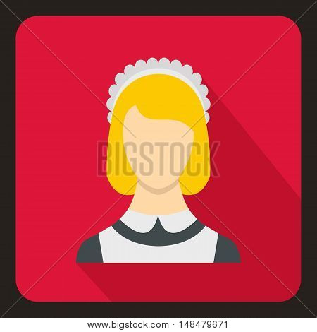 Maid icon in flat style with long shadow. People symbol vector illustration