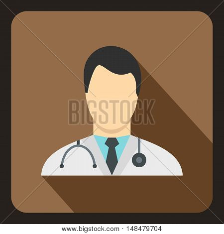 Doctor icon in flat style with long shadow. Job symbol vector illustration