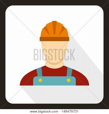 Builder icon in flat style with long shadow. Job symbol vector illustration