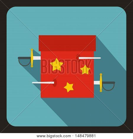 Box of tricks with daggers icon in flat style with long shadow. Tricks symbol vector illustration
