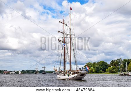 ROSTOCK, GERMANY - AUGUST 2016: two-master sailing ship. Hansesail in Warnemuende and Rostock harbor with lots of sailing ship from all over the world.
