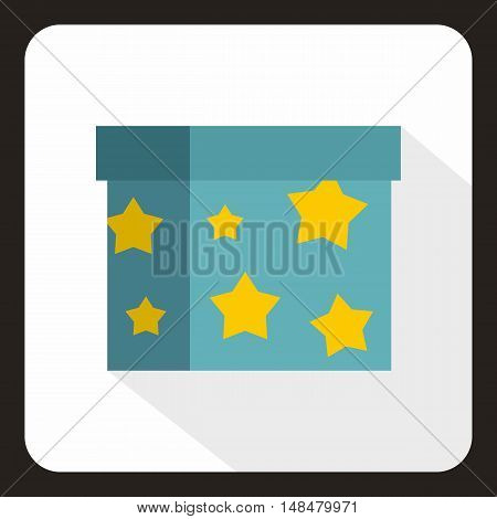 Box to perform tricks icon in flat style with long shadow. Circus symbol vector illustration