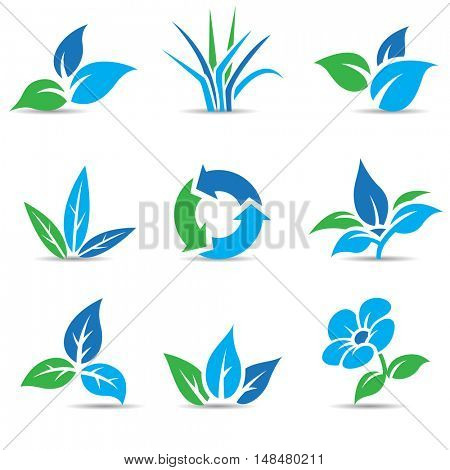Illustration of Blue and Green Leaves isolated on white
