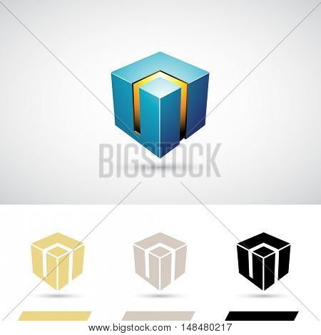 Blue Shiny 3d Cube Icon Illustration