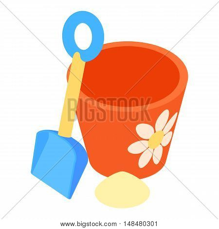 Bucket and pail shovel icon in cartoon style isolated on white background vector illustration