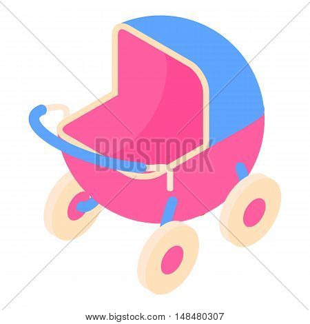 Baby stroller icon in cartoon style isolated on white background vector illustration