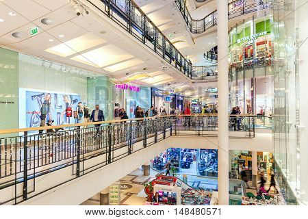 PRAGUE, CZECH REPUBLIC - DECEMBER 10, 2015: Interior of Palladium mall decorated for Christmas holidays - one of most popular shopping centers in Prague, has 5 floors, 184 shops and 23 restaurants.