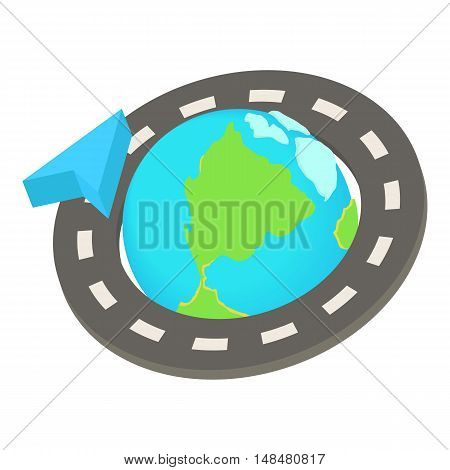 Round the world road trip icon in cartoon style isolated on white background. Journey symbol vector illustration