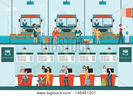 Bus terminal with bus limousine with people buying ticket at counter service and waiting for bus business travel transportation vector illustration.