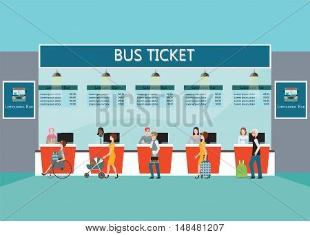Bus terminal with people buying ticket at counter service business travel transportation flat design vector illustration.