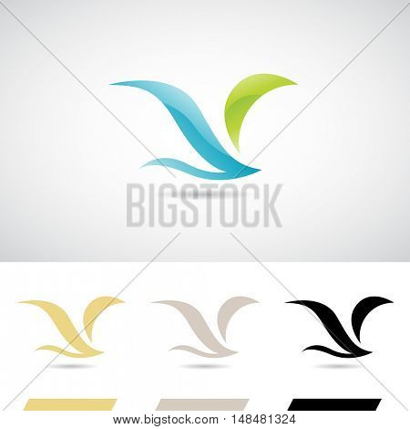 Blue and Green Soft Wings Bird Icon Illustration