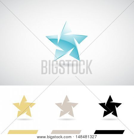 Ice Blue Star Shape Icon Illustration