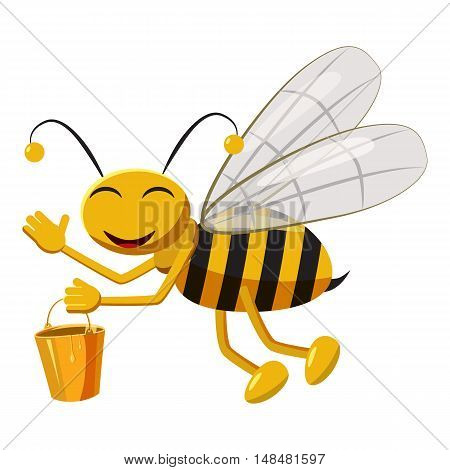 Bee with bucket of honey icon in cartoon style isolated on white background. Insects symbol vector illustration