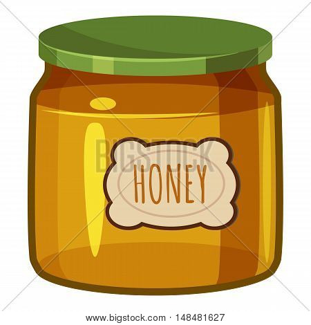 Jar of honey icon in cartoon style isolated on white background. Food symbol vector illustration