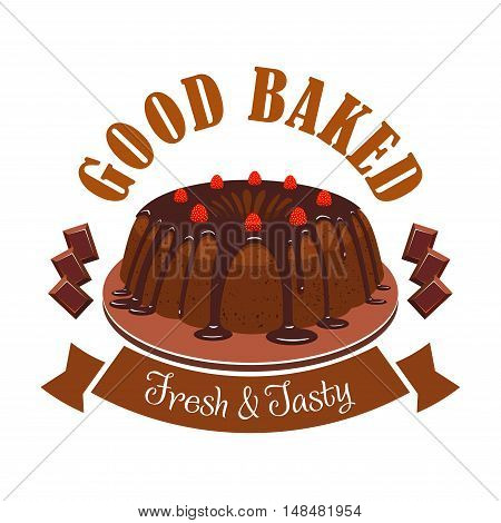 Fresh tasty dessert emblem. Vector icon of sweet chocolate cake on plate, chocolate topping, strawberries, brown ribbon. Template for cafe menu card, cafeteria signboard, patisserie poster, bakery label