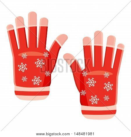 Winter gloves icon in cartoon style isolated on white background. Accessory symbol vector illustration