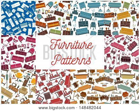 Furniture room interior elements seamless backgrounds. Wallpaper with vector pattern icons of retro and classic home accessories sofa, chair, armchair, lamp, bookshelf, vase, locker, flower, lamp, wardrobe, picture