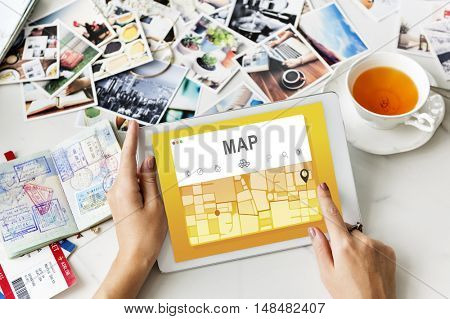 Map GPS Navigation Direction Destination Route Concept