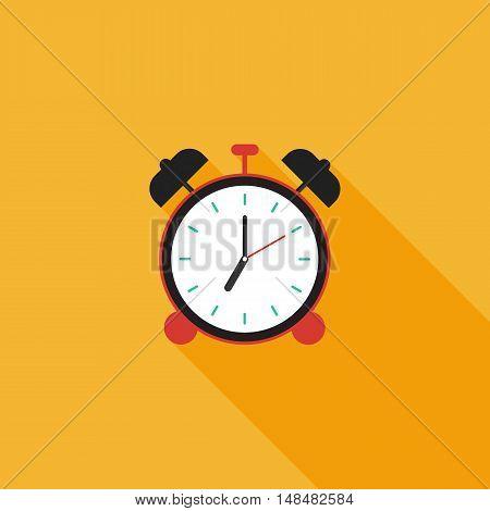 Alarm clock icon flat design long shadow colorful alarm clock vector illustration